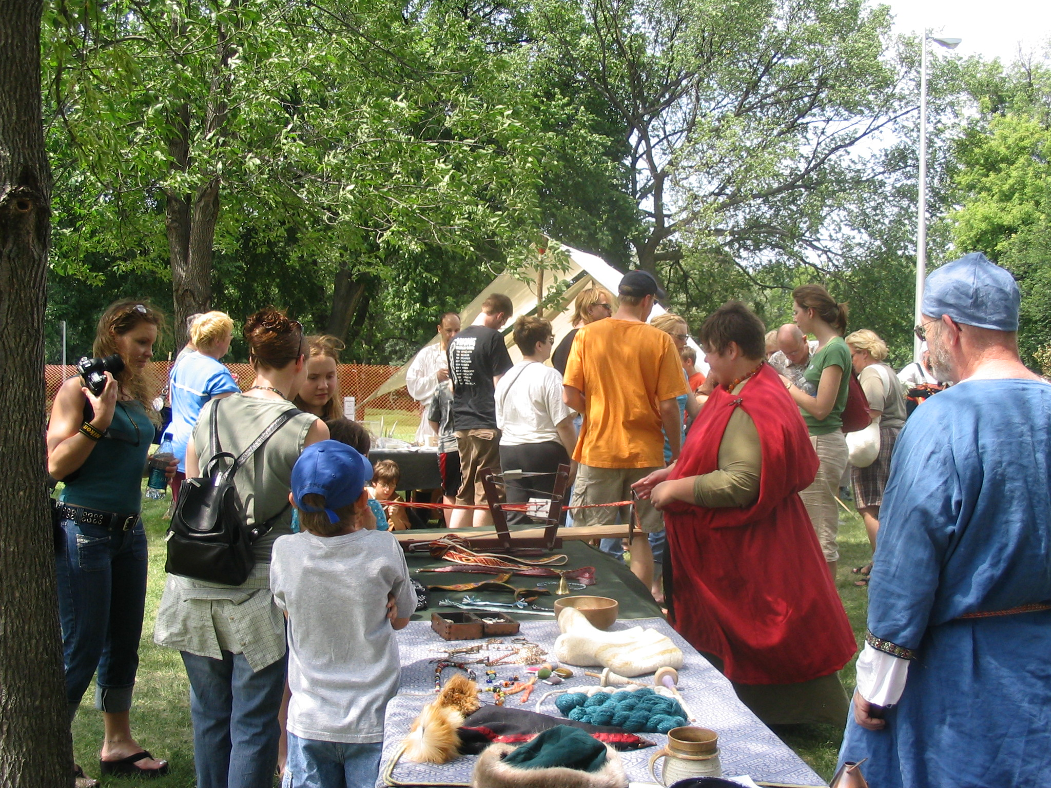 Attendees check out vendor-made Viking items at the Midwest Viking Festival