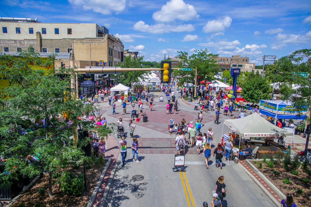 Broadway in downtown Fargo with vendor booths during street fair