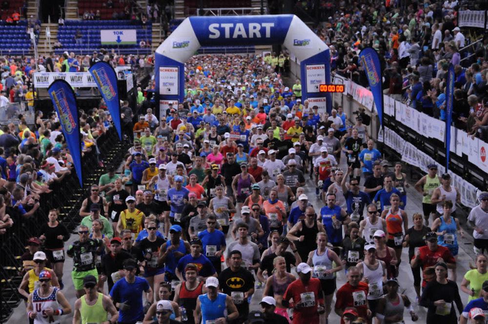 Fargo Marathon start inside FARGODOME