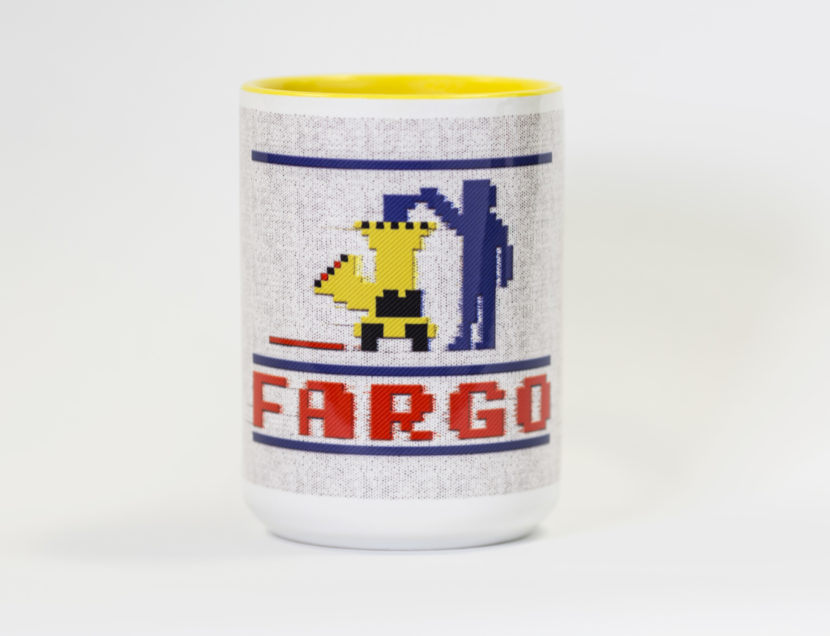 Mug with woodchipper on it