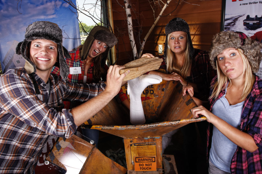 Group of four around Fargo Woodchipper