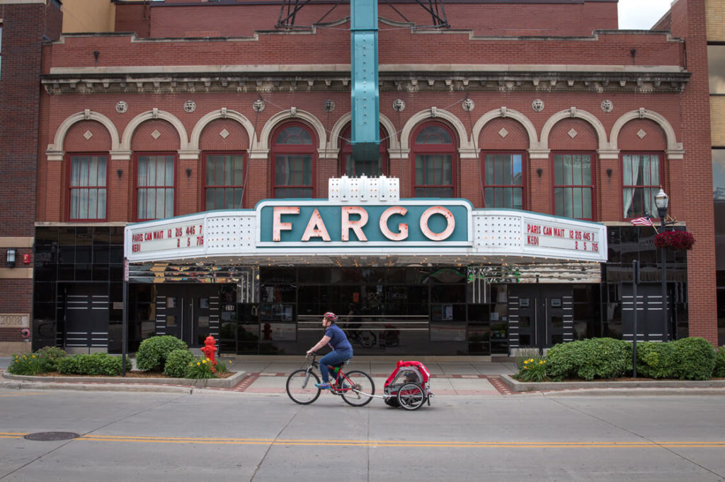 Bike by Fargo Theatre with kid carrier attached