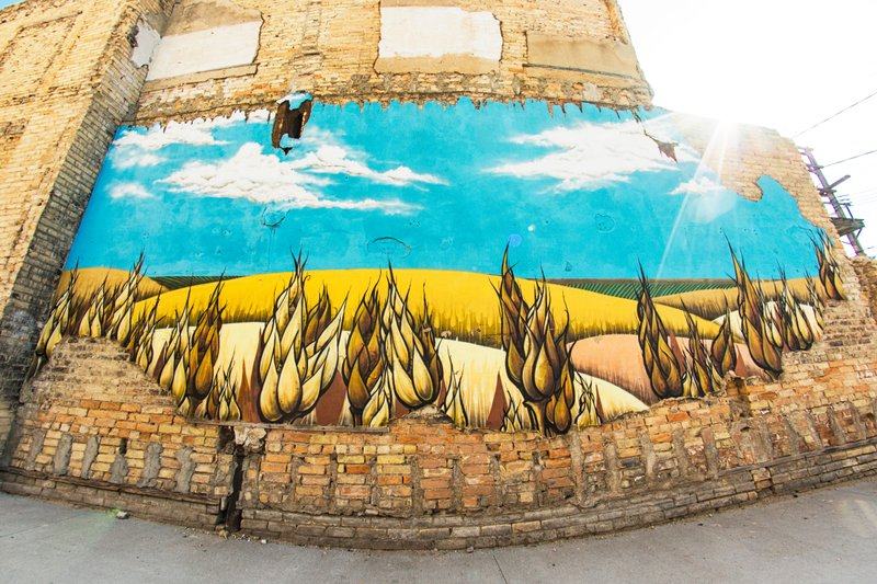 Wheat mural in Downtown Fargo