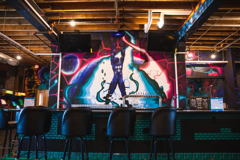 Grant Hicks mural inside Pixeled Brewing Company