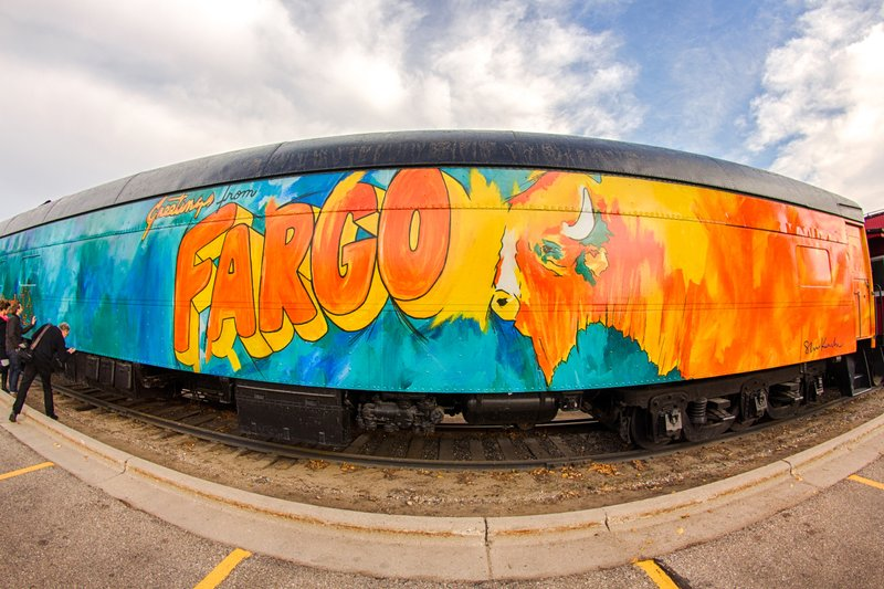 Greetings from Fargo mural on train car in Downtown Fargo