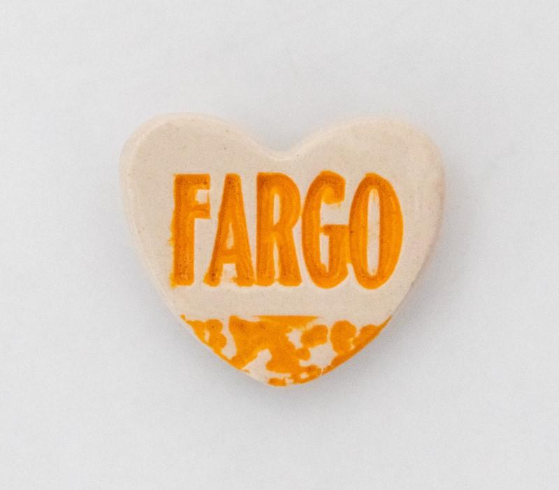 Fargo heart magnet made by a local artist